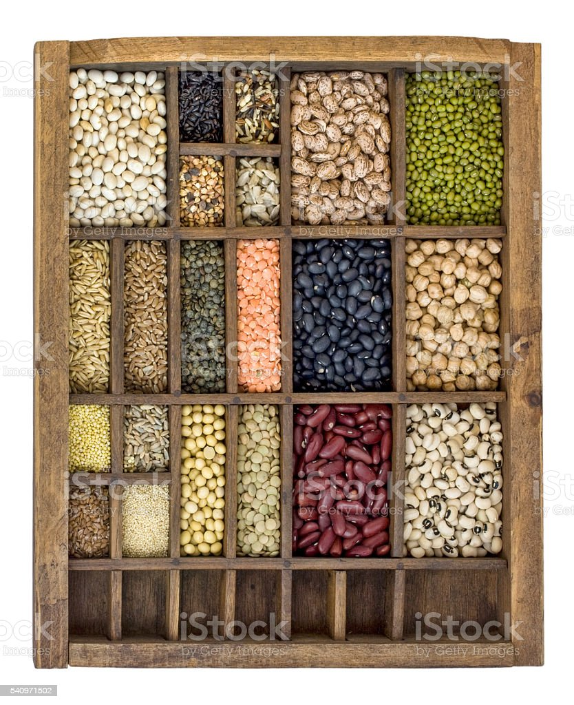 beans, grains and seeds collection stock photo