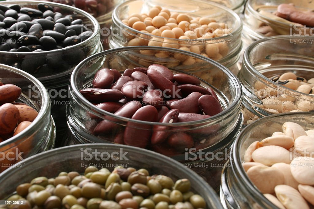 Beans in jars stock photo