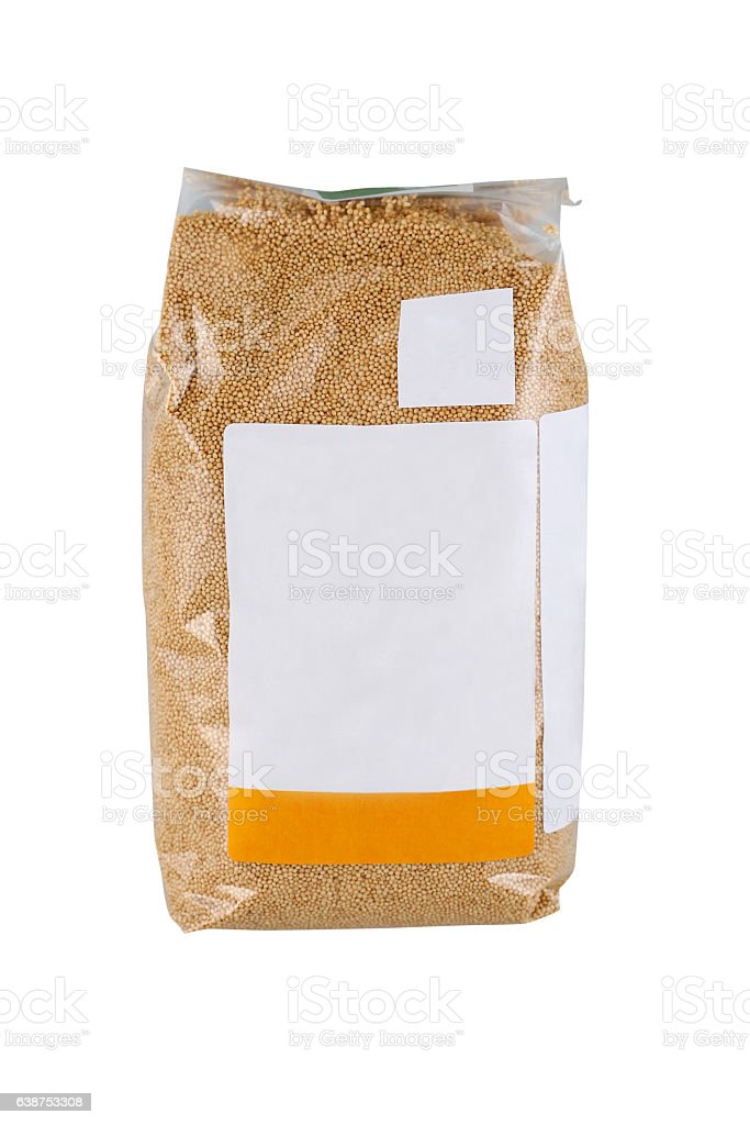 Beans in plastic bag stock photo