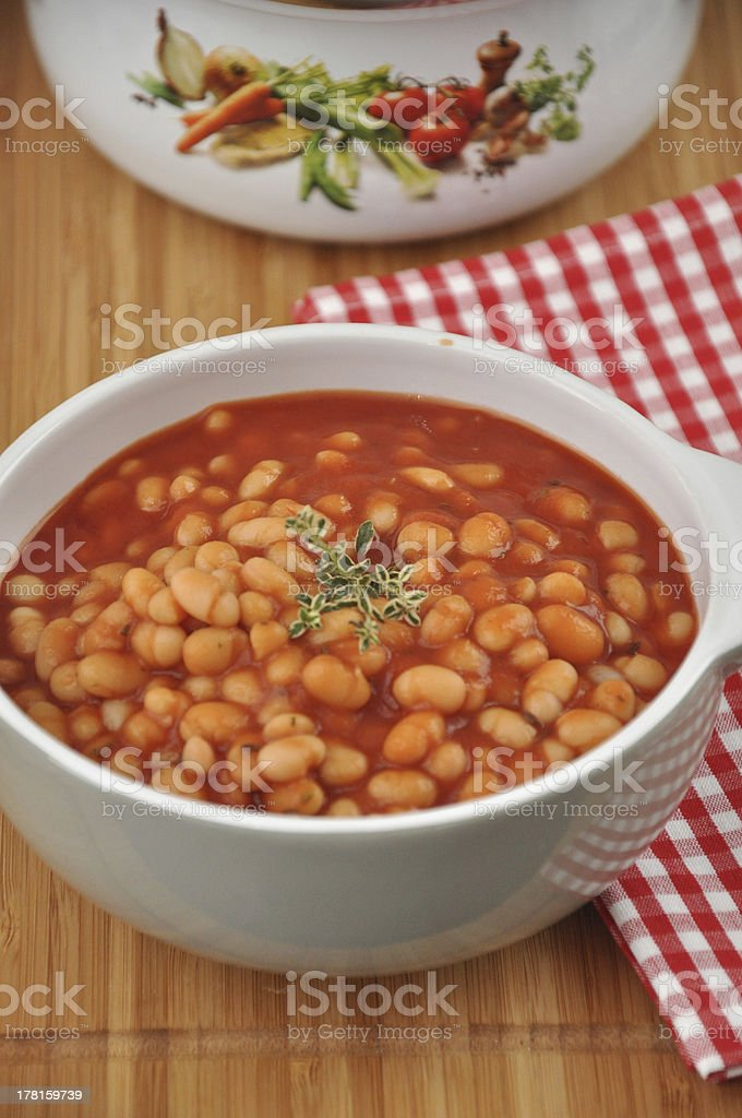 Beans in tomato sauce royalty-free stock photo