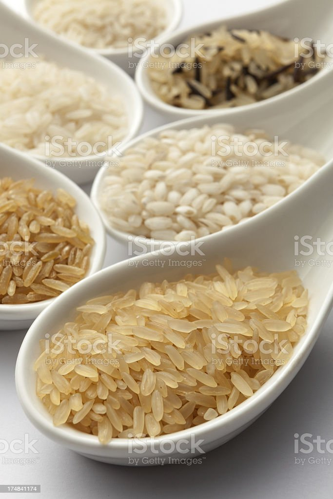 Beans, Lentils, Peas and Grains: Collection of Rice royalty-free stock photo