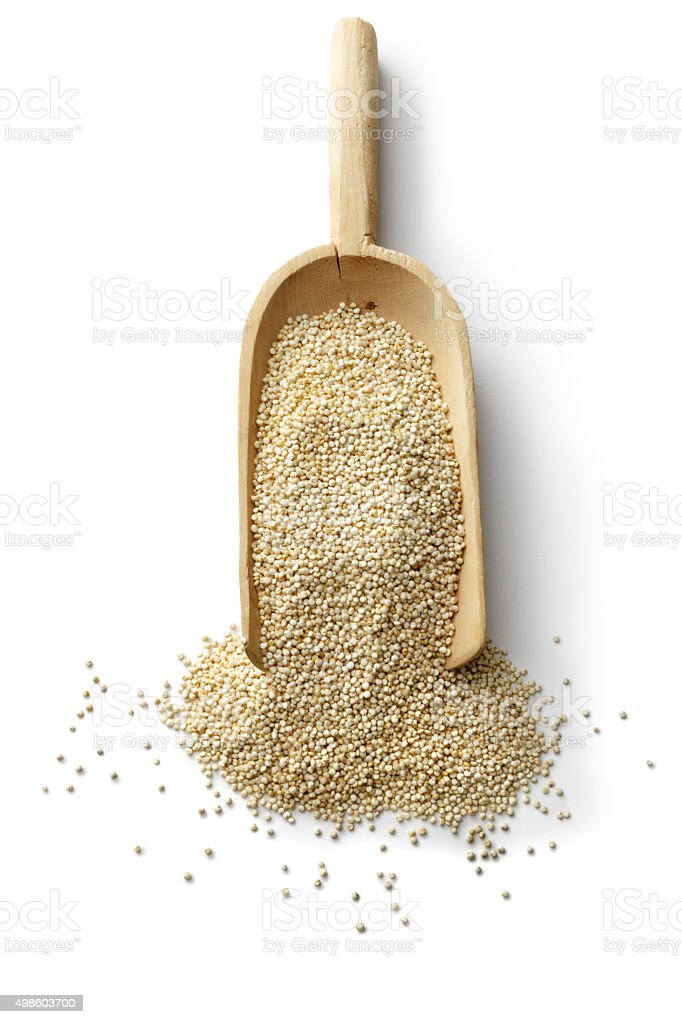 Beans, Lentils, Peas and Grains: Quinoa Isolated on White Background stock photo