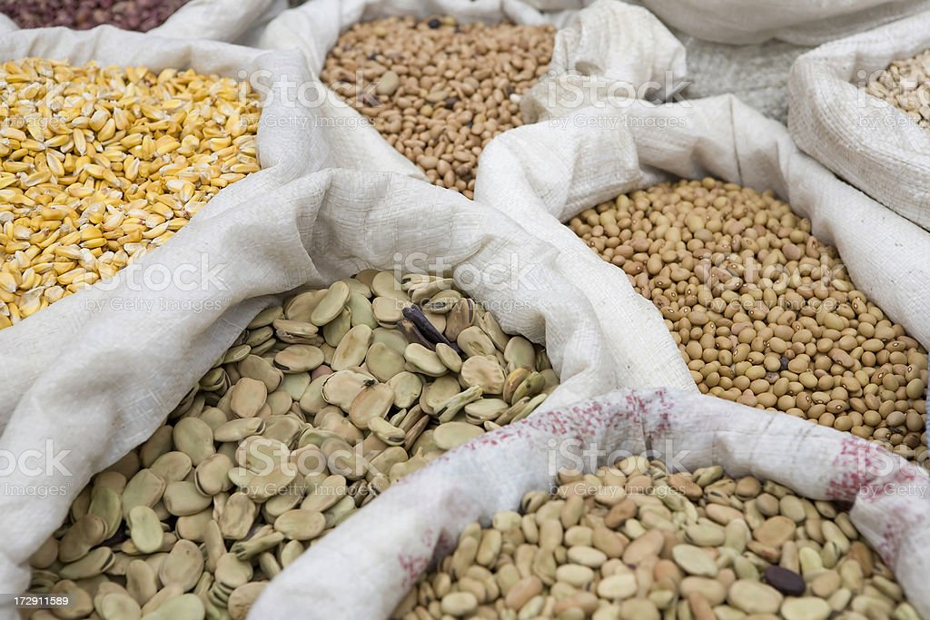 Beans on the market stock photo