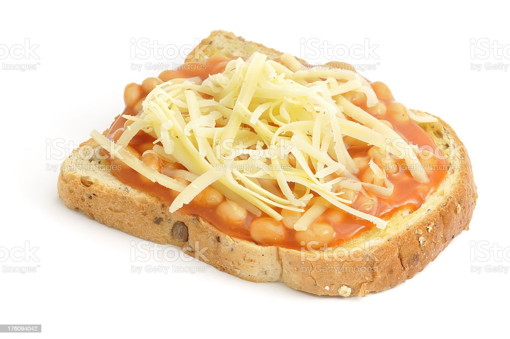 Beans on Toast with Cheese royalty-free stock photo
