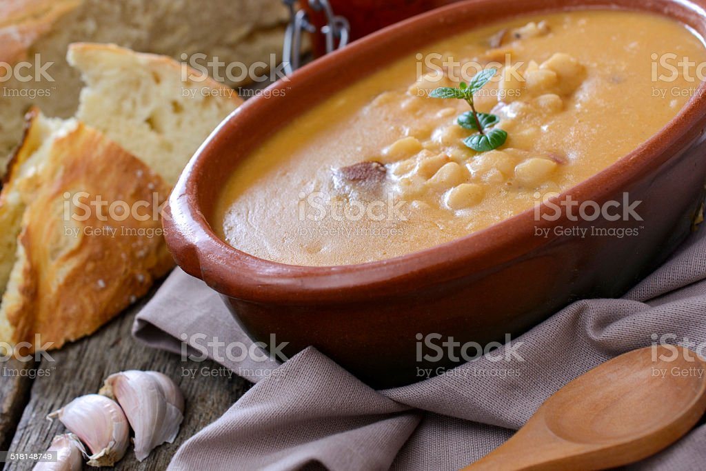 Beans soup in bowl stock photo