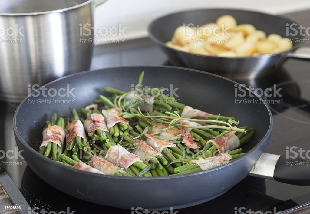 Beans with bacon stock photo