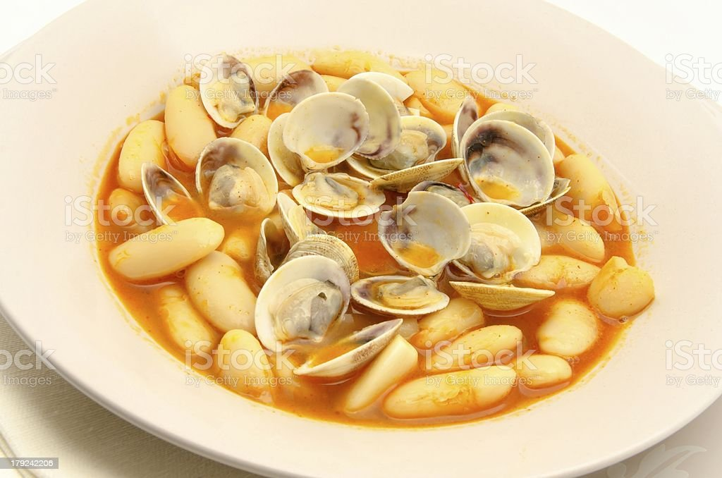 Beans with clams royalty-free stock photo