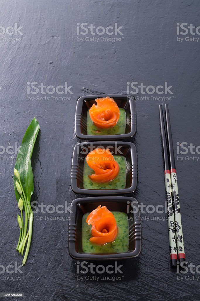 Bear allium with smoking salmon stock photo