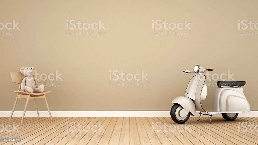 bear and vintage motorcycle in kid room-3D Rendering stock photo