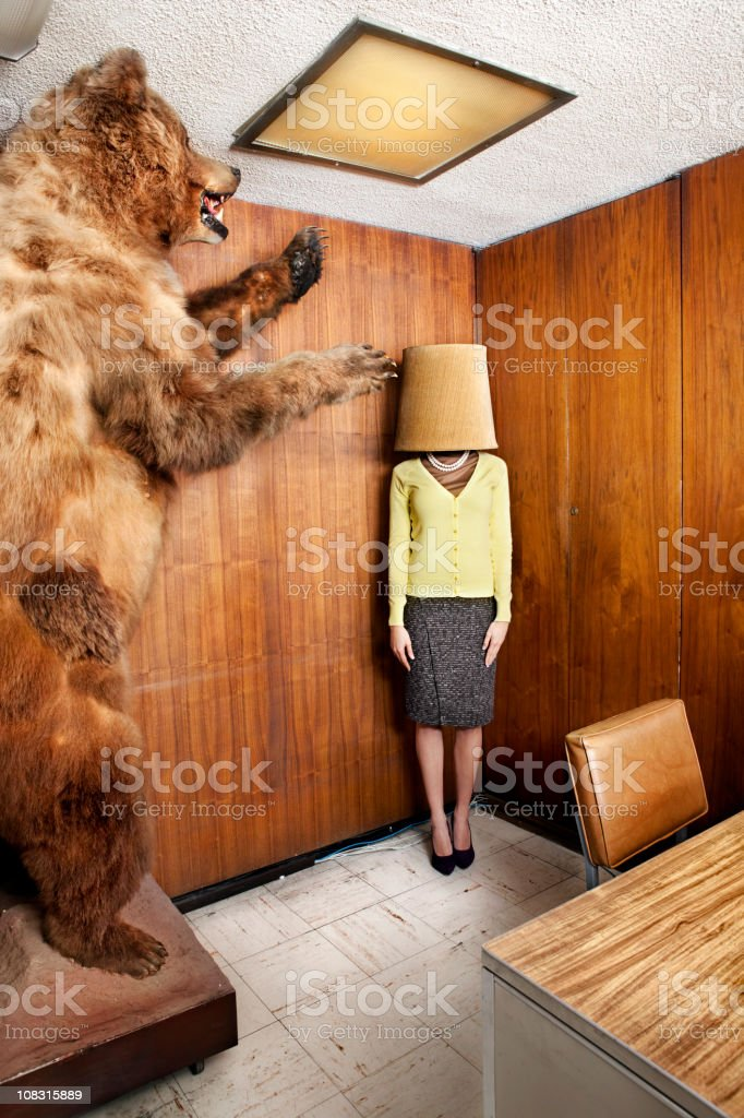 Bear at the office stock photo