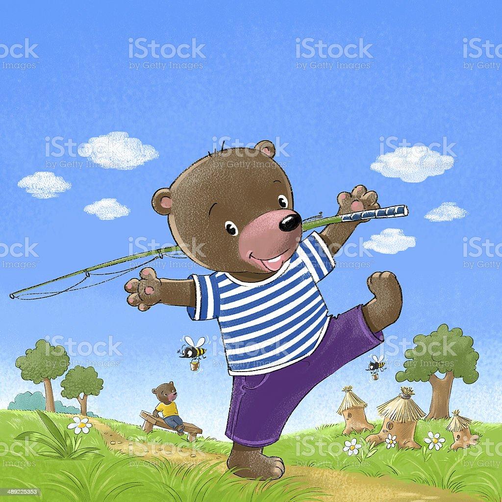 Bear go fishing stock photo