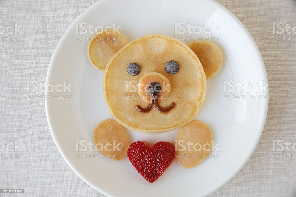 Bear holding love heart pancake breakfast, fun food art for kids