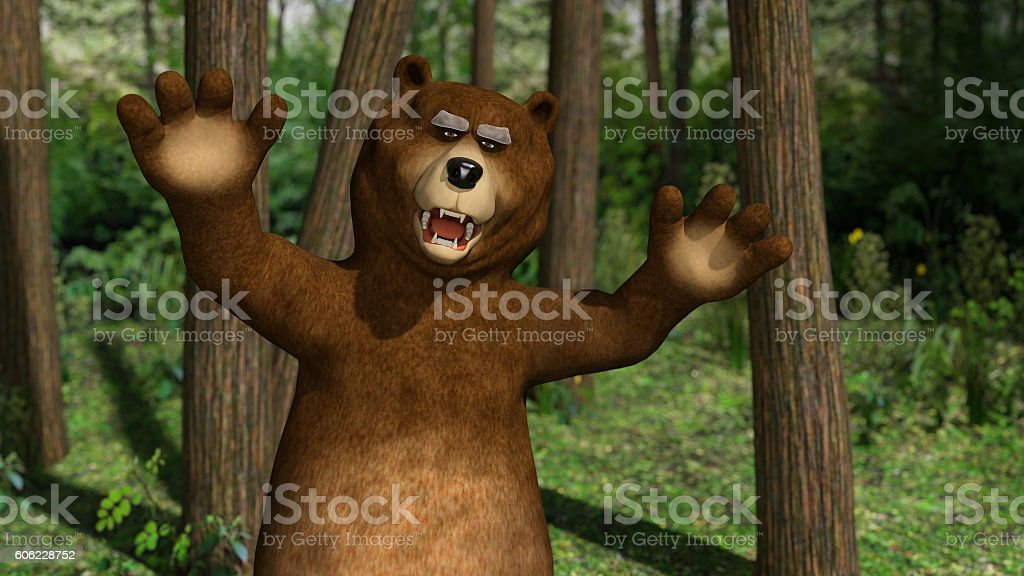 Bear in the woods stock photo
