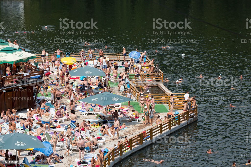 Bear Lake in Sovata, Transylvania, Romania stock photo