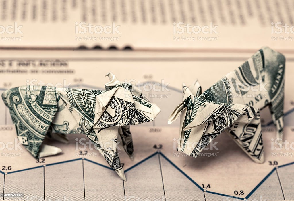 Bear market and bull market stock photo