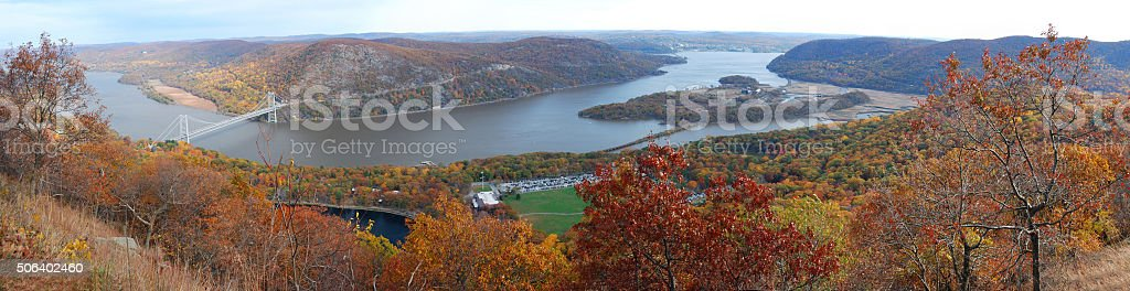 Bear Mountain Autumn panorama aerial view stock photo