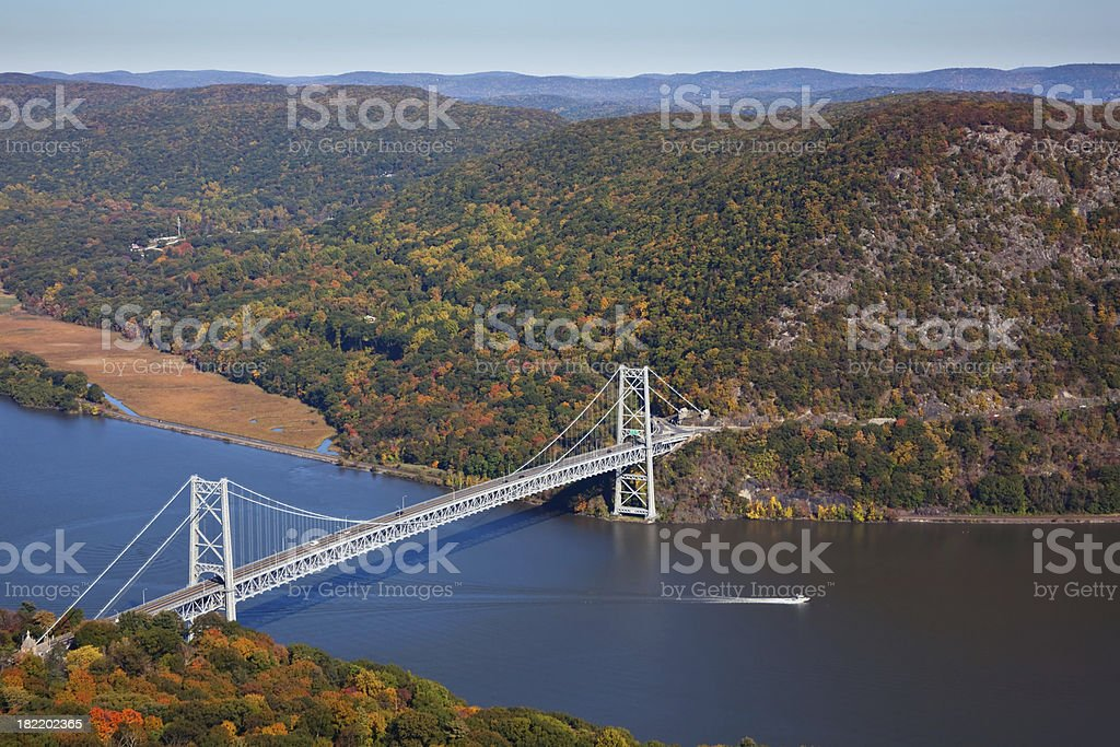 Bear Mountain Bridge and The Hudson River stock photo
