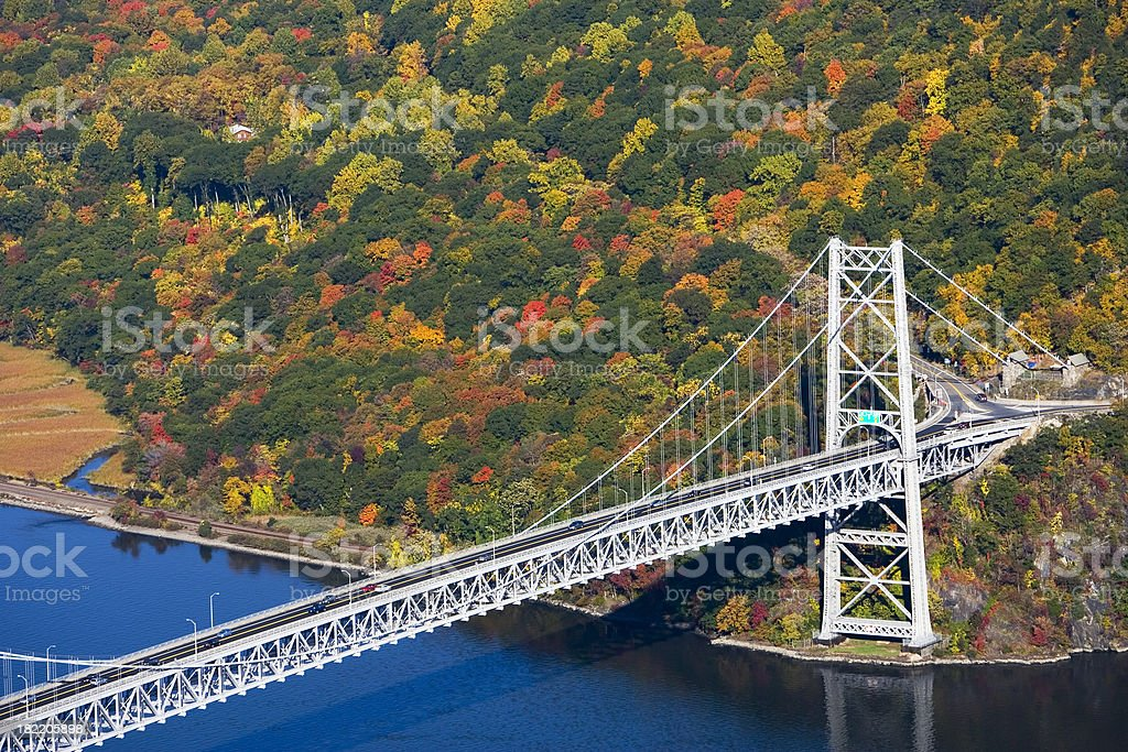 Bear Mountain bridge over Hudson River in Autumn stock photo
