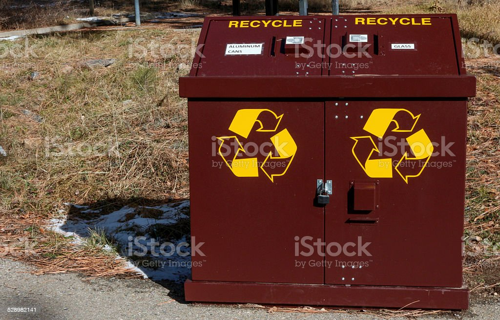 Bear proof recycling container in a campground stock photo