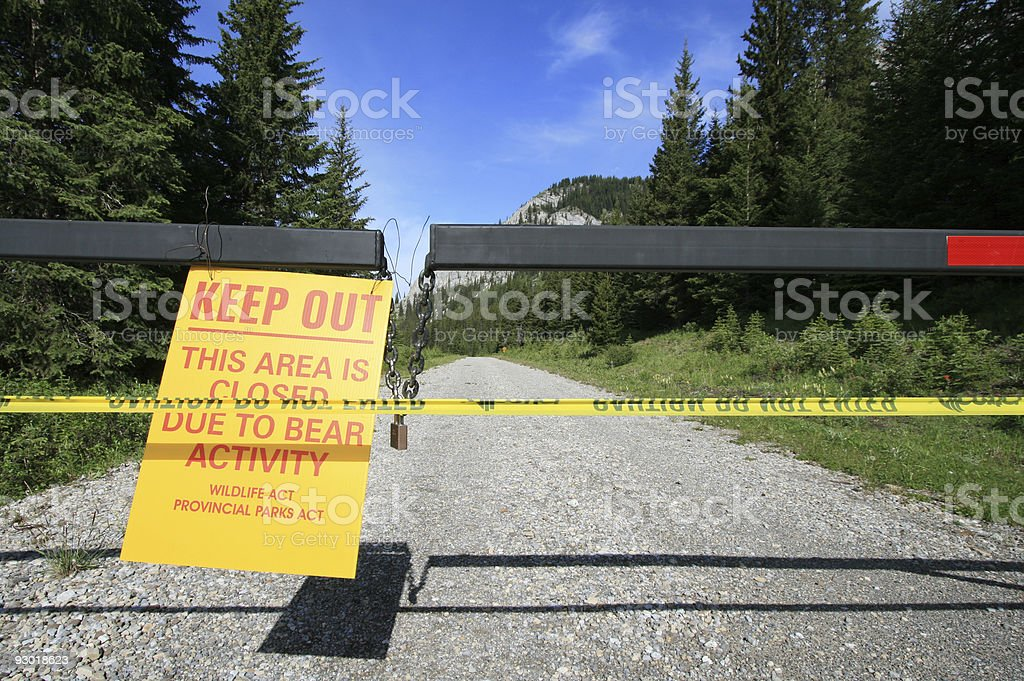 Bear Warning Sign stock photo