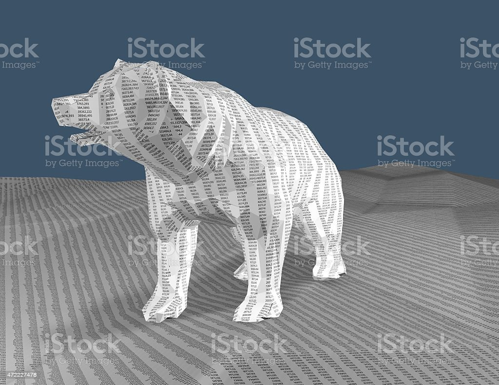 Bear with texture with numbers, 3d render, bull market concept. stock photo