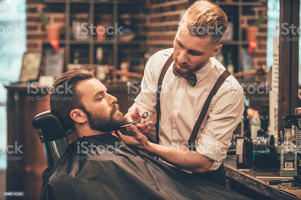 Beard grooming. stock photo