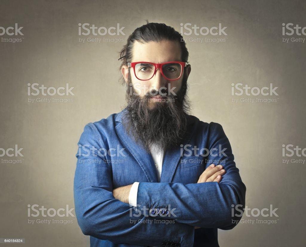 Bearded business man stock photo