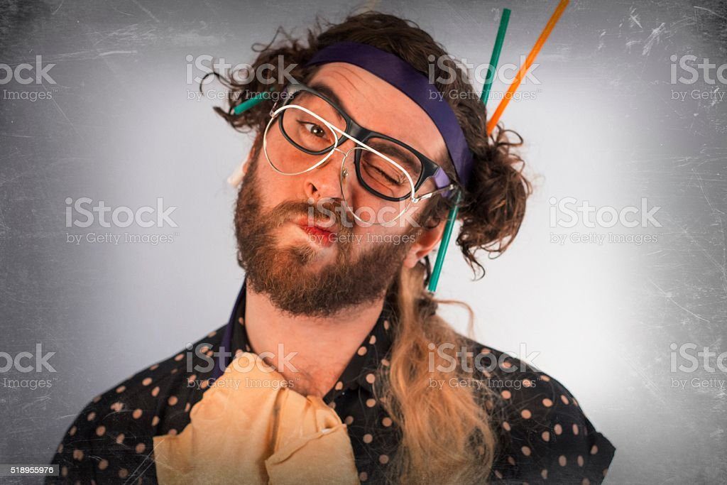 Bearded Crazy Person Lunatic stock photo