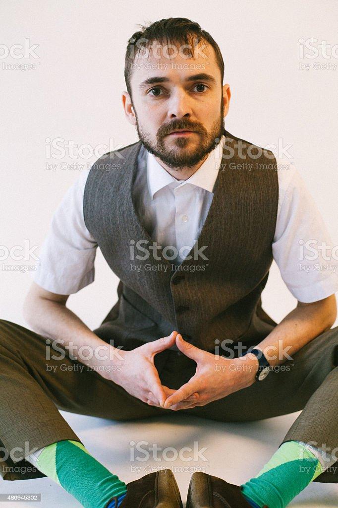 bearded Lotus pose stock photo