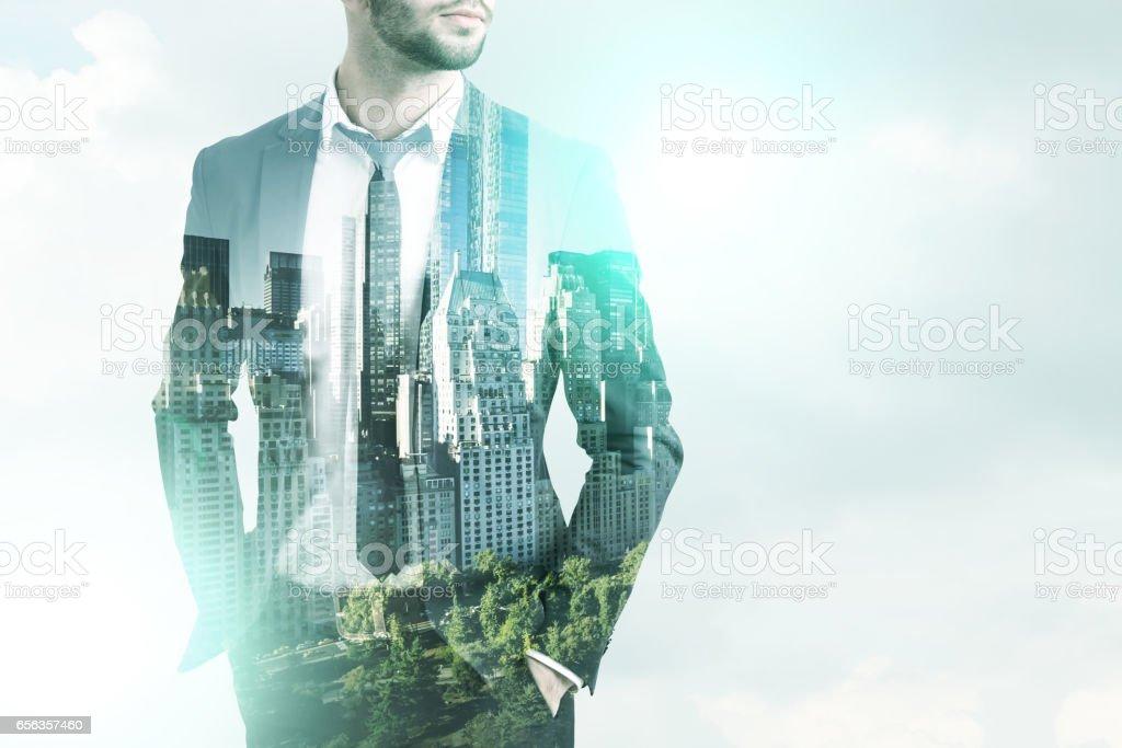 Bearded man and the sky, city stock photo