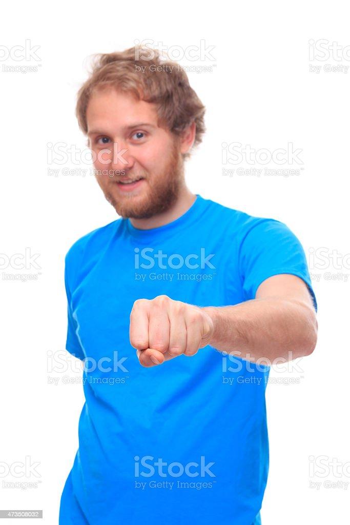 Bearded man doing fist bump stock photo