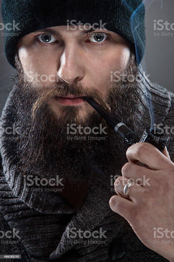 Bearded man dressed like a sailor. stock photo