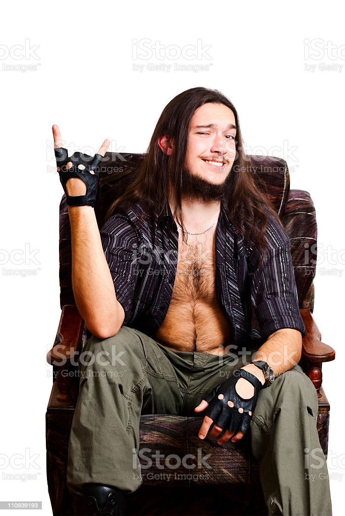 Bearded man. Gesture of 'V'. stock photo