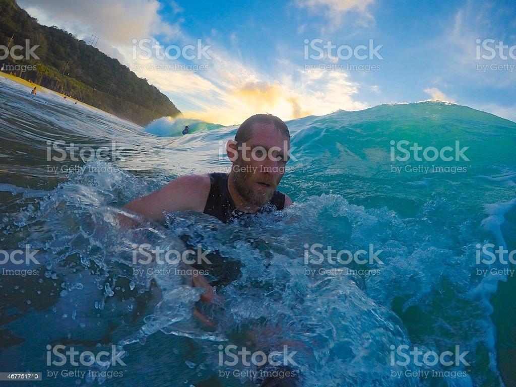 Bearded Man in Ocean stock photo