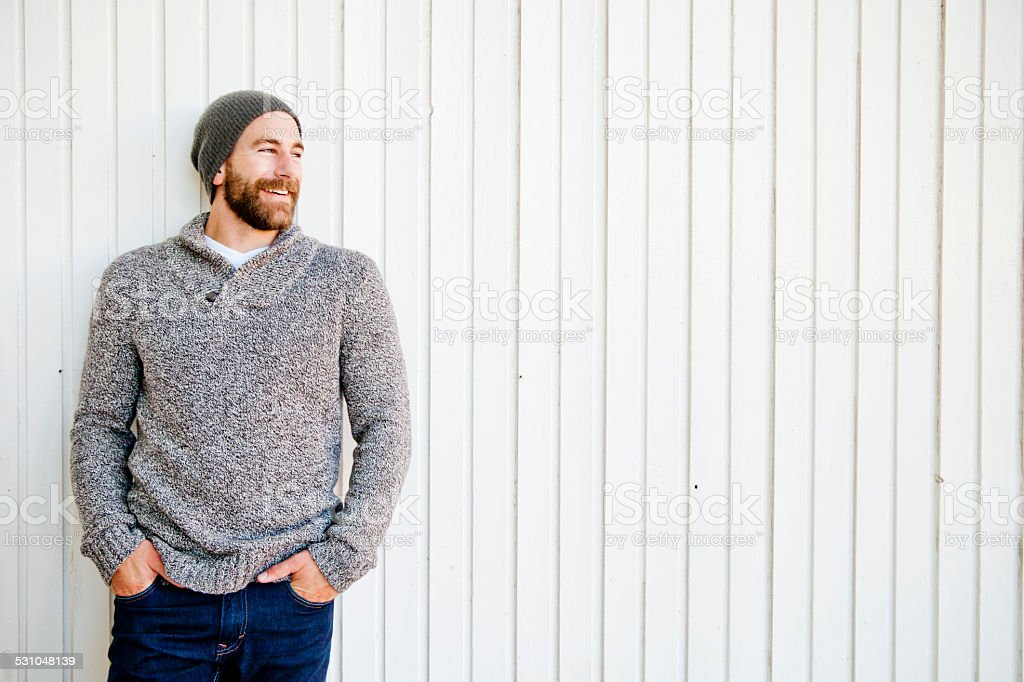 Bearded Man Laughing stock photo
