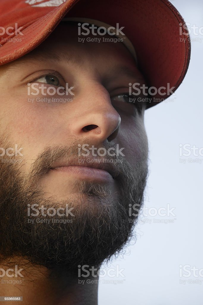 Bearded man looking to the left royalty-free stock photo