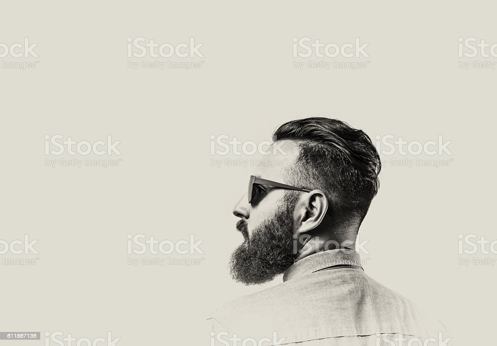 Bearded man with glasses stock photo
