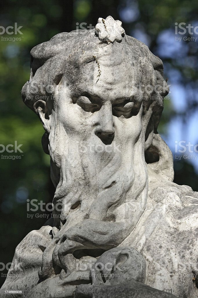 Bearded old man (dusk allegory) statue in Summer Garden royalty-free stock photo