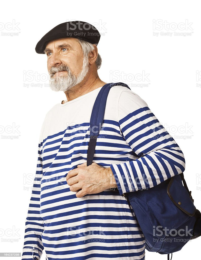 Bearded old man travelling royalty-free stock photo