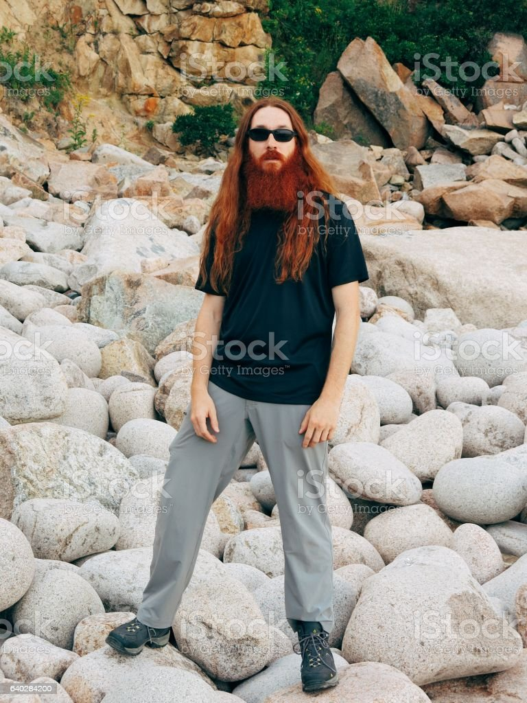 Bearded Redhead Ginger Tall Man, Rugged, Rebel, Sexy, Loner stock photo