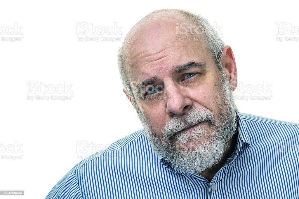 Bearded Senior Man Serious Face Portrait stock photo
