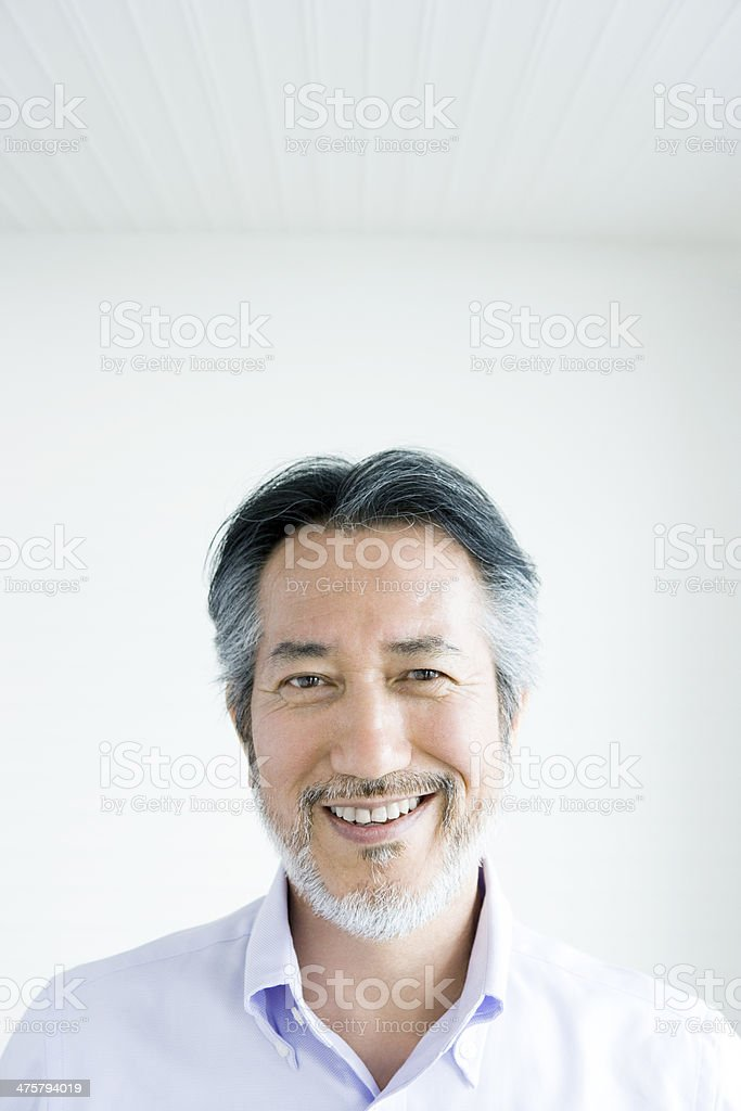 Bearded smiling man stock photo