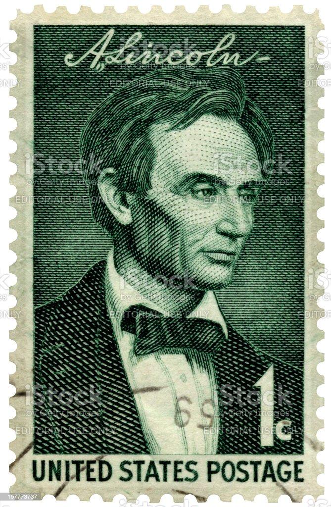 Beardless Abraham Lincoln Postage Stamp stock photo