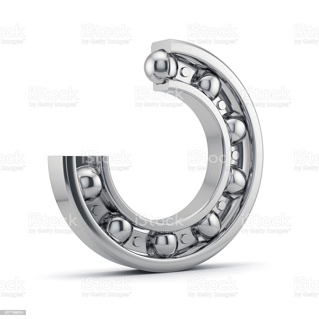 Bearings production isolated on white stock photo