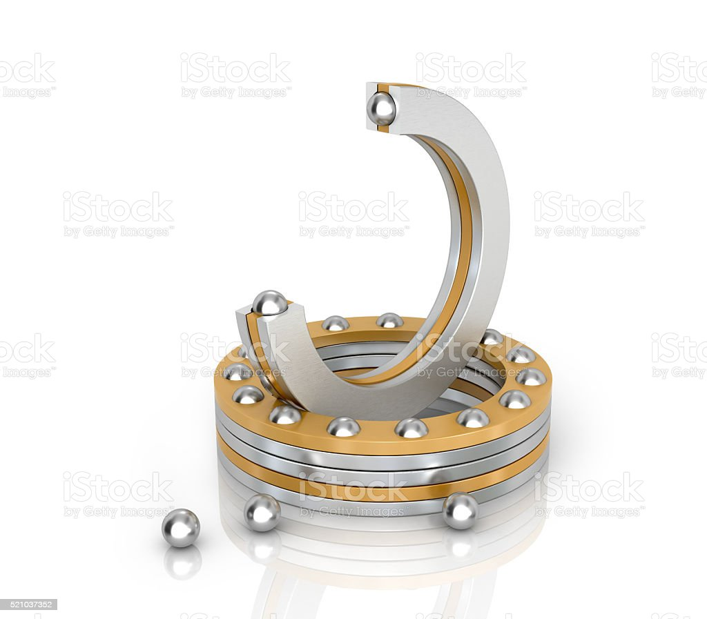 Bearings Thrust ball isolated white background. 3D illustration stock photo