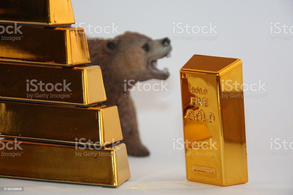 Bearish on Gold stock photo