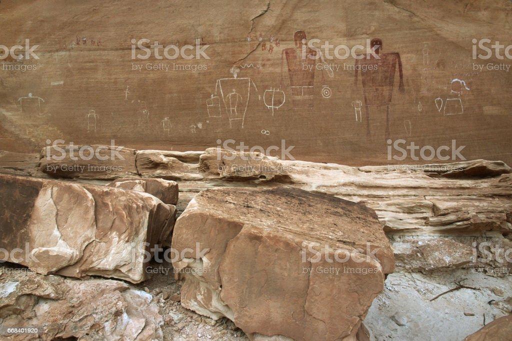 Bears Ears National Monument Cedar Mesa Big Men petroglyph panel Utah stock photo