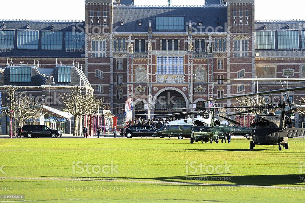 Beast meets Marine One in front of Rijksmuseum stock photo