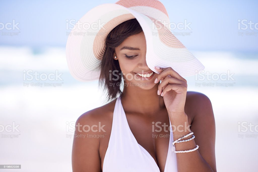 Beat the summer heat with a beautiful sunhat stock photo