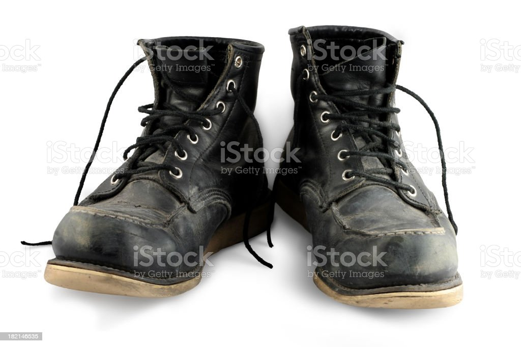 beat up boots stock photo